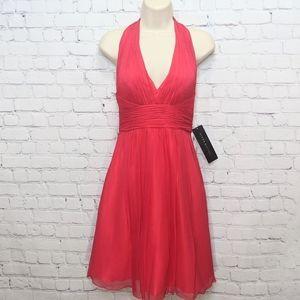 Aidan Mattox Chiffon Silk Halter Dress